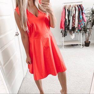 Draper James Love Circle Red Fit Flare Vneck Dress